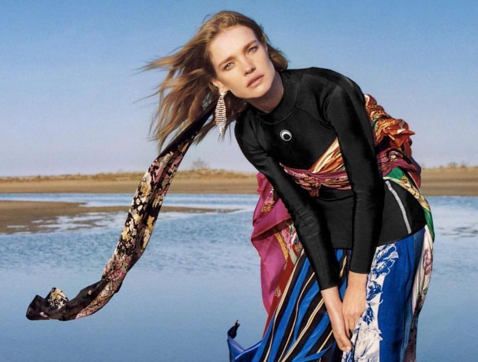 Natalia Vodianova patchworked dress